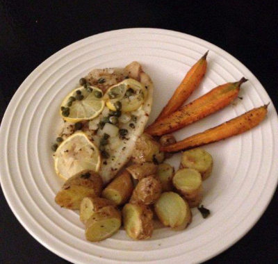 Dinner For Two – Baked Fish with Capers, Fingerling Potatoes, and Roasted Carrots