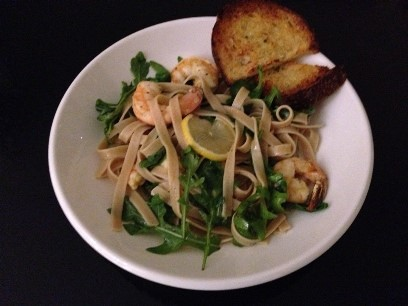 Lemon Arugula Shrimp Pasta
