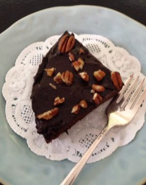 Magic Bean Cake with Avocado Ganache